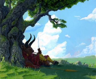 minotaur under tree 72